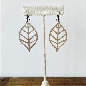 Jewelry - 3/$20 Vegan Faux Leather Leaf Earrings